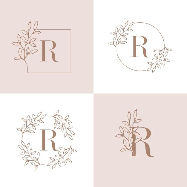 蘭の葉の要素を持つ文字rロゴデザイン Premiumベクター