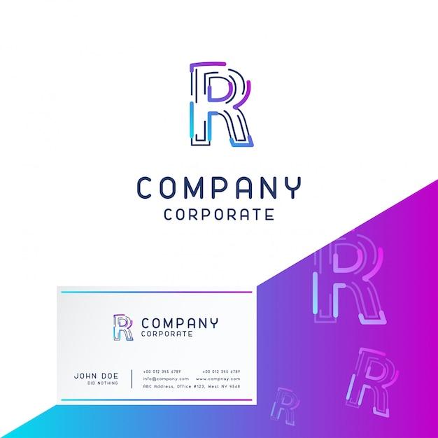 訪問カードベクトルとrの会社のロゴデザイン Premiumベクター