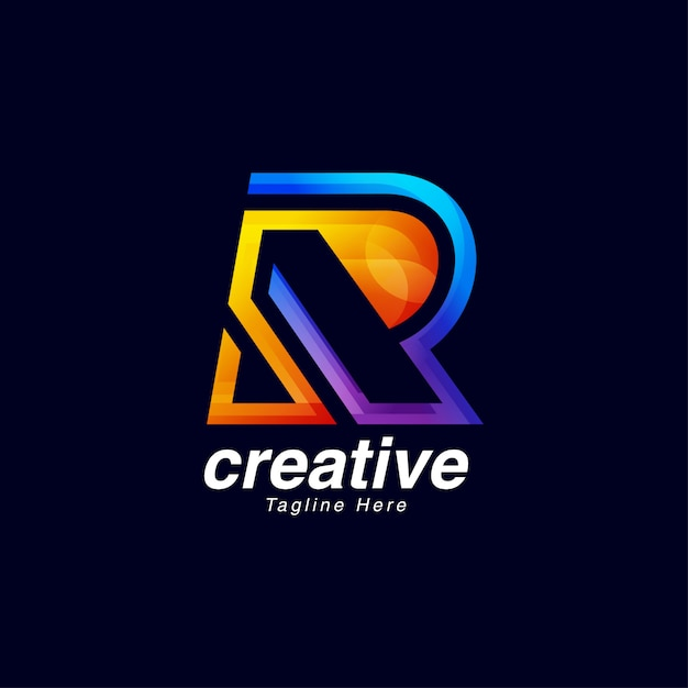 活気のある創造的な手紙rロゴデザインテンプレート Premiumベクター