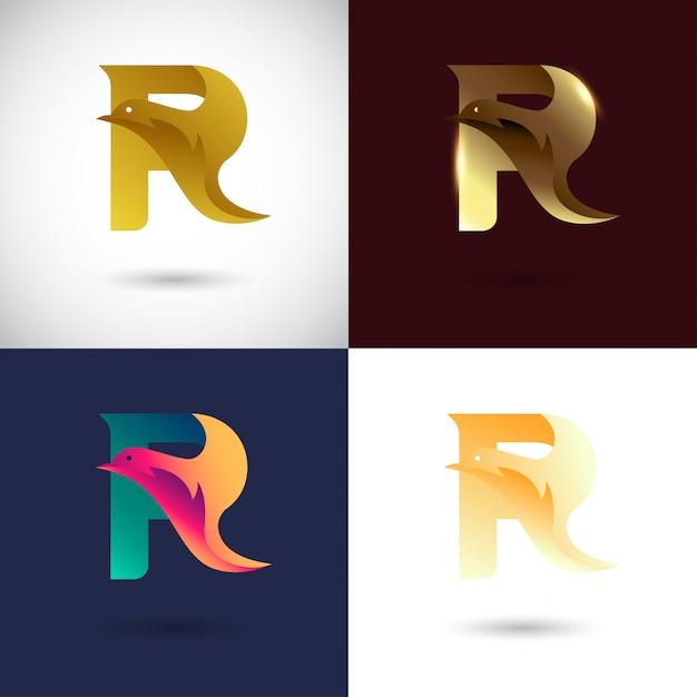Креативный дизайн логотипа буква r Premium векторы