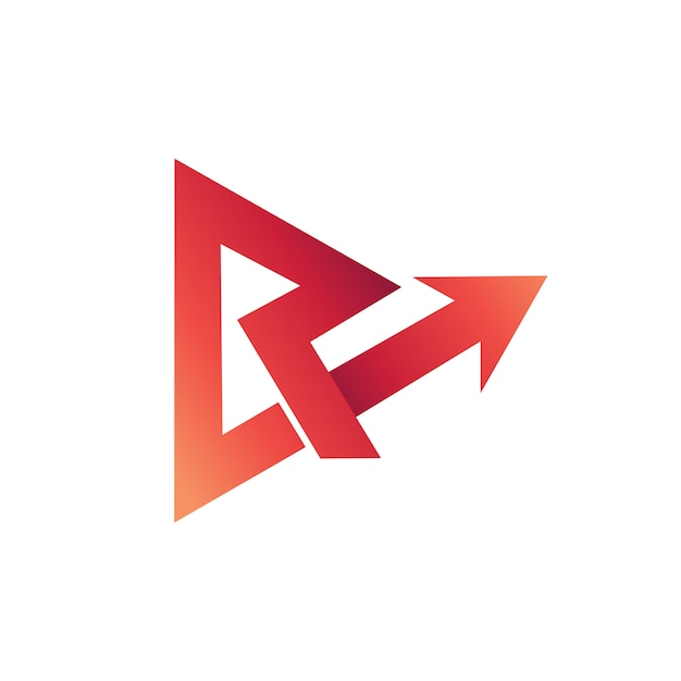 文字r矢印ロゴベクトル Premiumベクター