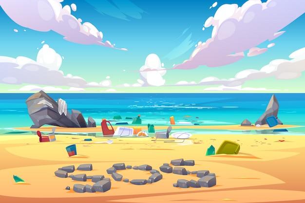 プラスチックrゴミで覆われた汚染された海辺 無料ベクター