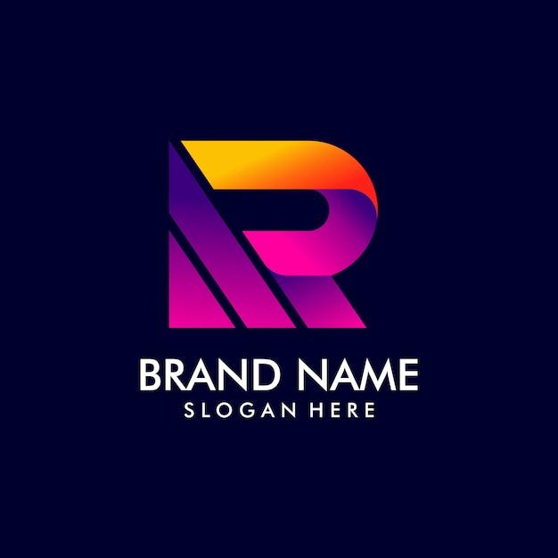 グラデーションスタイルの文字rロゴデザイン Premiumベクター