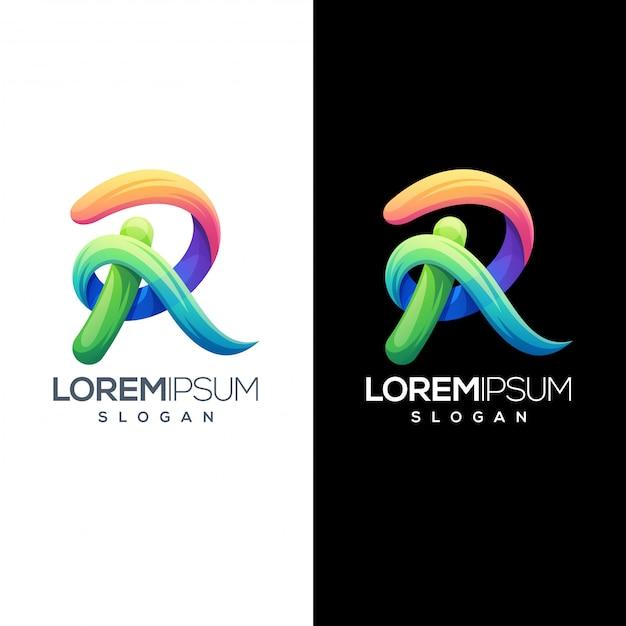 カラフルな文字rロゴデザインテンプレート Premiumベクター