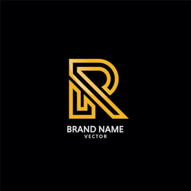 ゴールドrシンボルロゴテンプレートベクトル Premiumベクター