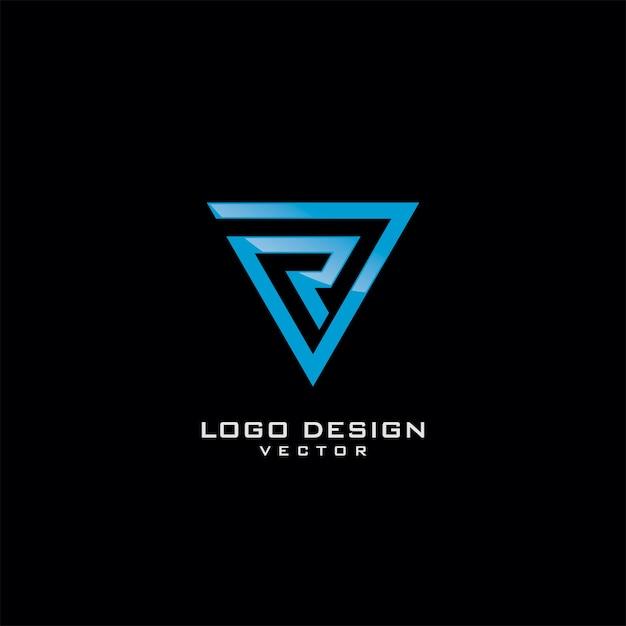 トライアングルラインアートロゴデザインのrレター Premiumベクター