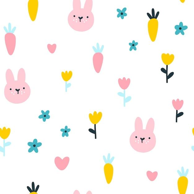 ウサギとニンジンのシームレスなパターン。 Premiumベクター