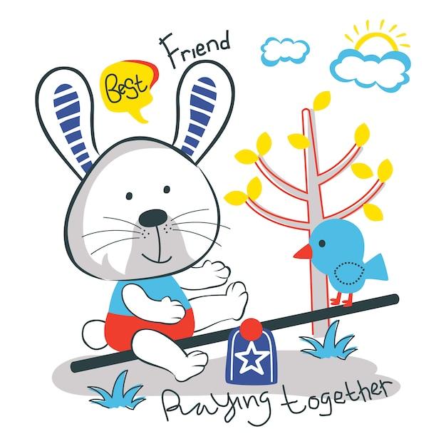 Rabbit and bird funny animal cartoon Premium Vector