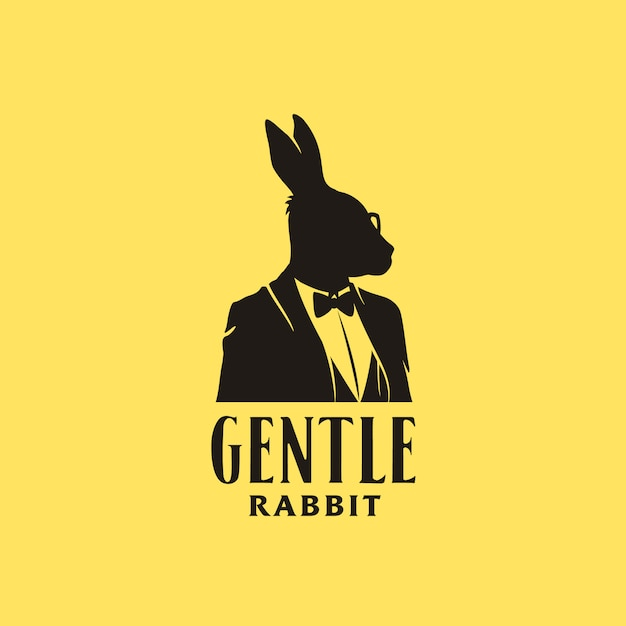 Rabbit businessman silhouette with tuxedo suit Premium Vector