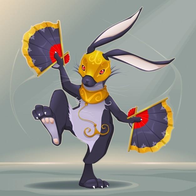 Rabbit, chinese horoscope Free Vector