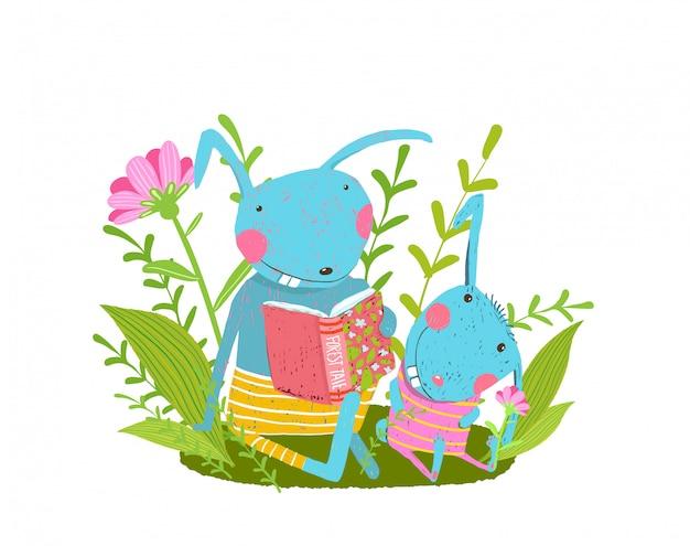 森で本を読んでいるかわいいウサギの家族、親、赤ちゃんウサギ。 Premiumベクター