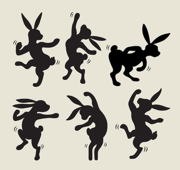 Rabbit dancing silhouette vector Premium Vector