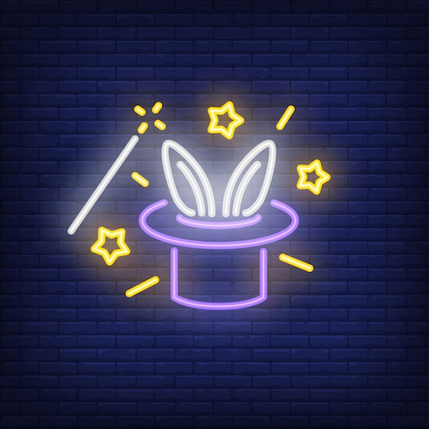 Rabbit ears emerging from magicians hat neon sign Free Vector