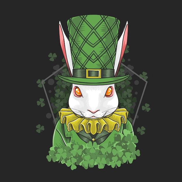Rabbit easter & st. patrick's day Premium Vector