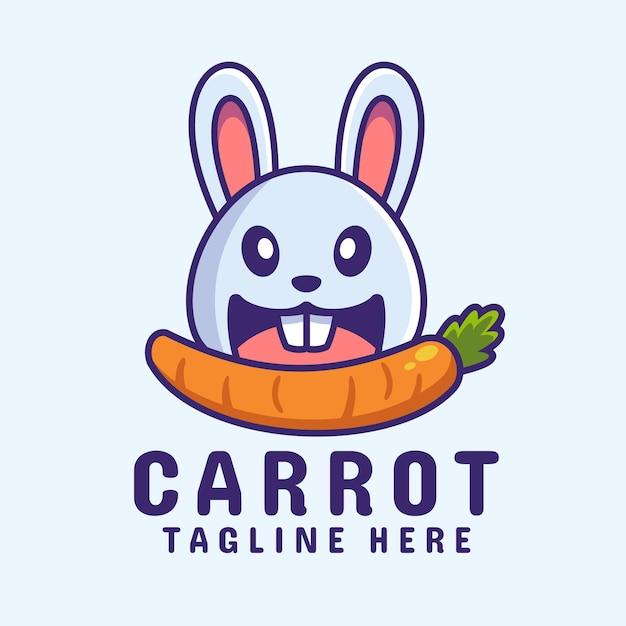 にんじんを食べるウサギ漫画のロゴのデザイン Premiumベクター