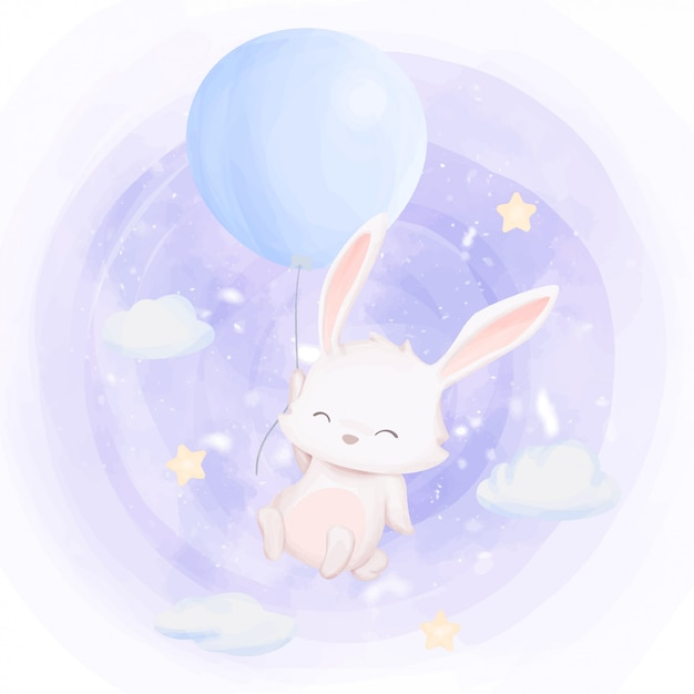 Rabbit fly up to sky with balloon Premium Vector