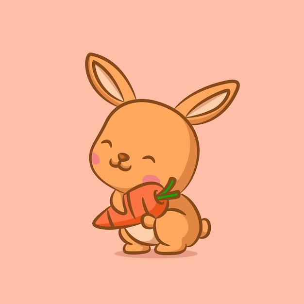 オレンジ色のニンジンを保持しているウサギの幸せそうな顔 Premiumベクター