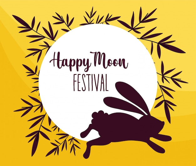 Rabbit happy moon festival Premium Vector