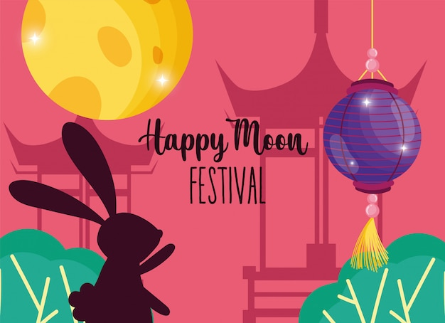 Rabbit happy moon festival Premium Vector