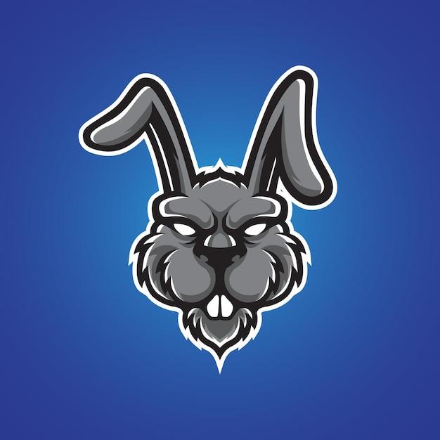 うさぎの頭のロゴ Premiumベクター