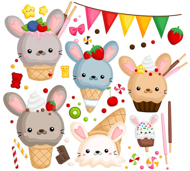 Rabbit ice cream Premium Vector