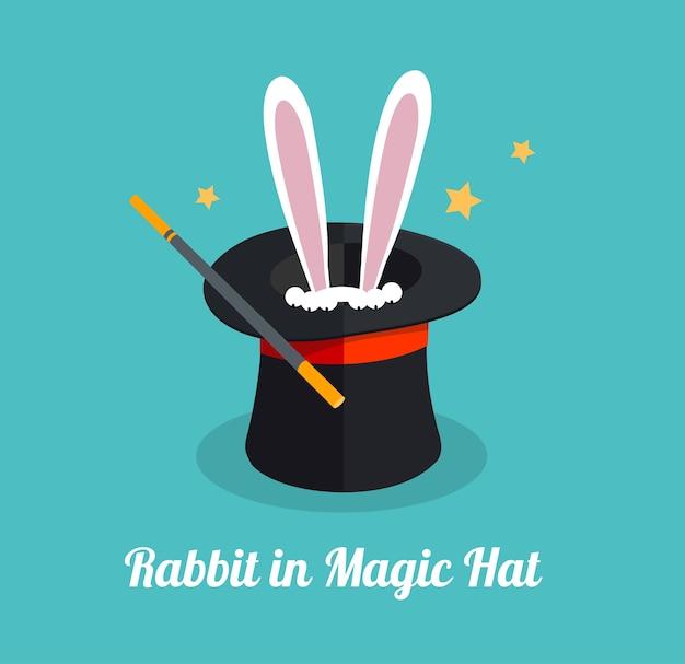 Кролик в волшебной шляпе сюрприз и волшебная концепция Premium векторы