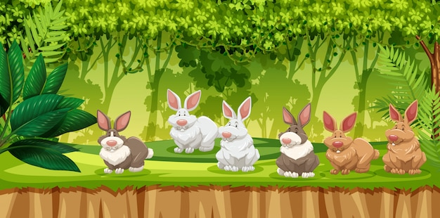 Rabbit in jungle scene Premium Vector