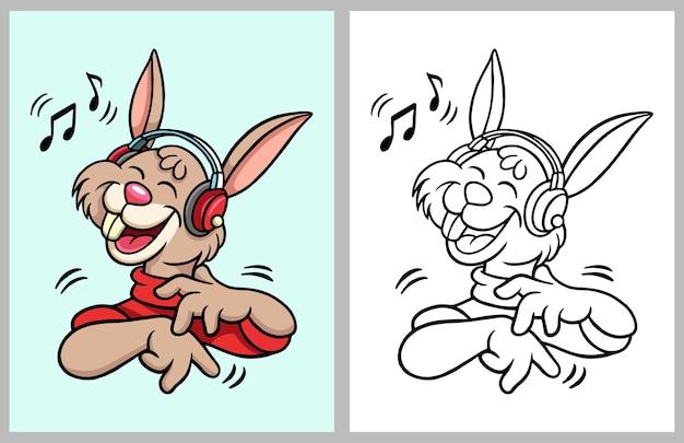Premium Vector Rabbit Listening Music Cartoon Character Coloring Book