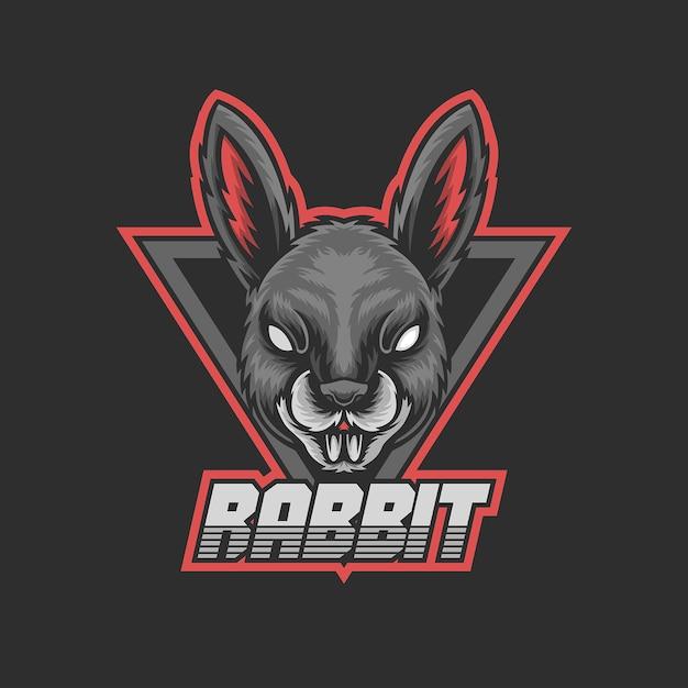 ゲームのロゴのウサギのマスコット Premiumベクター