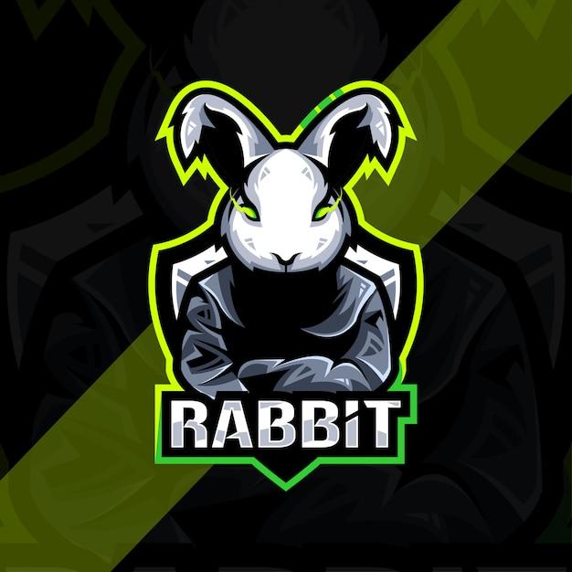 Кролик талисман логотип киберспорт дизайн Premium векторы