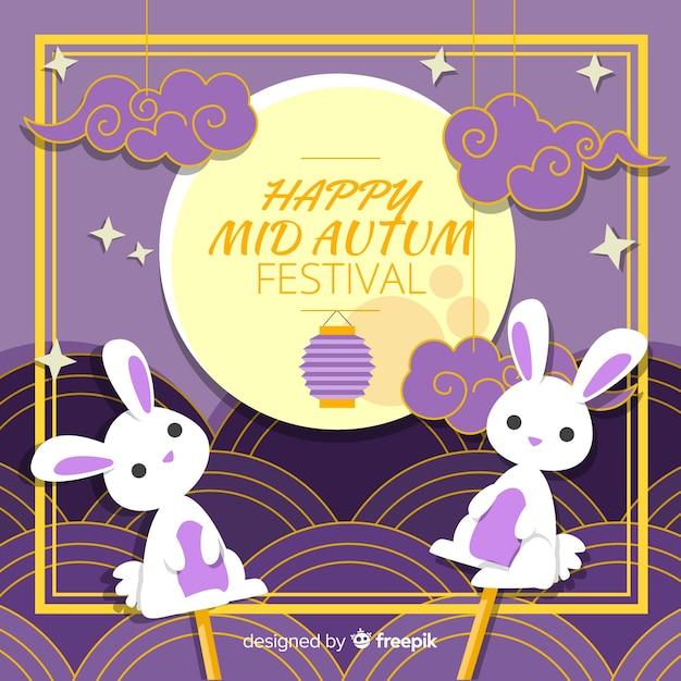 Rabbit puppet mid autumn festival background Free Vector