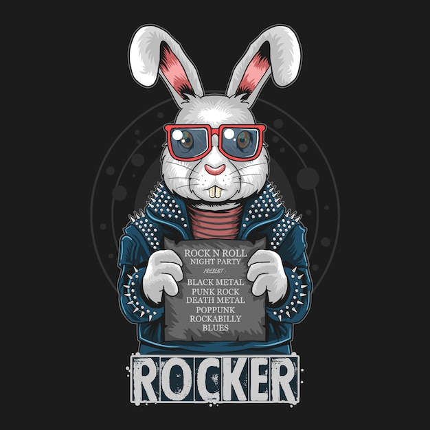 Rabbit rock n roll bunny artwork Premium Vector