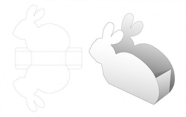 Rabbit shaped snack container die cut template Premium Vector