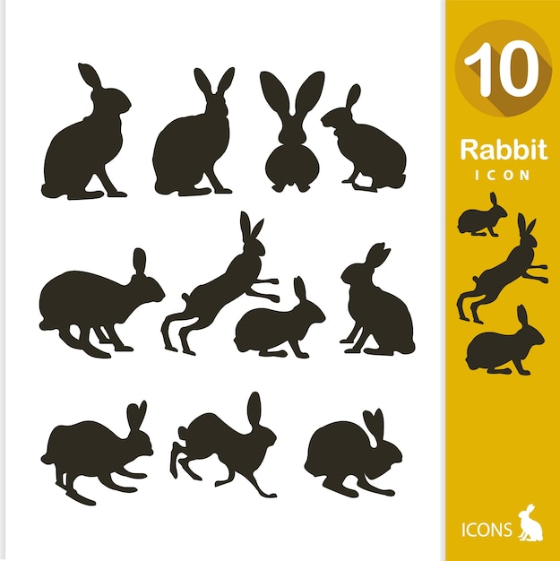 Rabbit silhouette collection Free Vector