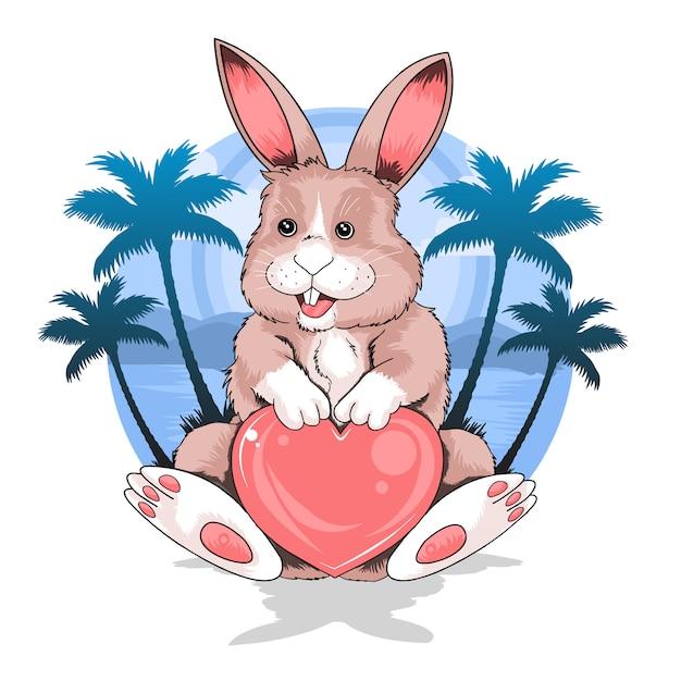 Rabbit летом пляже холдинг любовь вектор сердца, хорошо для элементов флейтер или требования Premium векторы