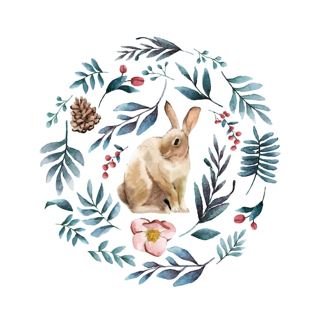 Rabbit surrounded by winter bloom Free Vector