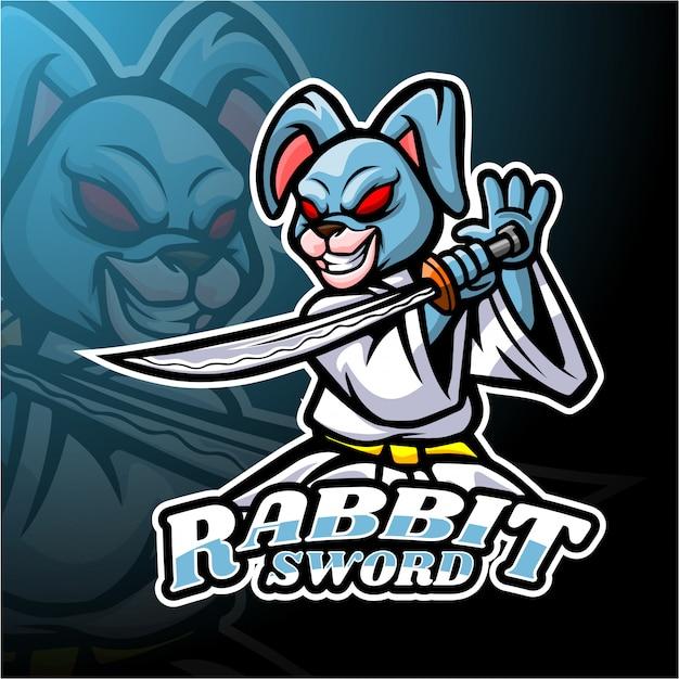 Кролик меч дизайн логотипа талисмана Premium векторы