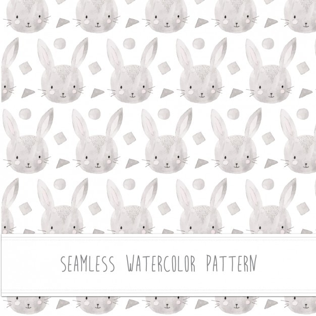 Rabbit watercolor pattern Free Vector