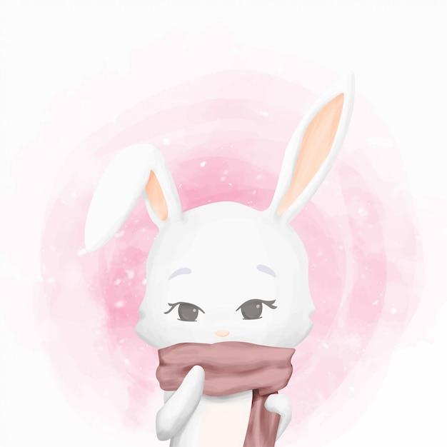 Rabbit on winter wearing scarf Premium Vector