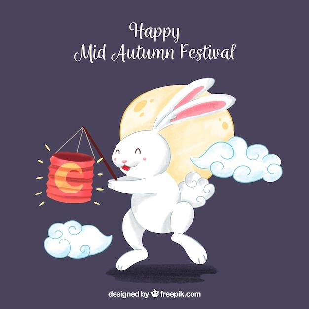Rabbit with a lantern, mid autumn festival