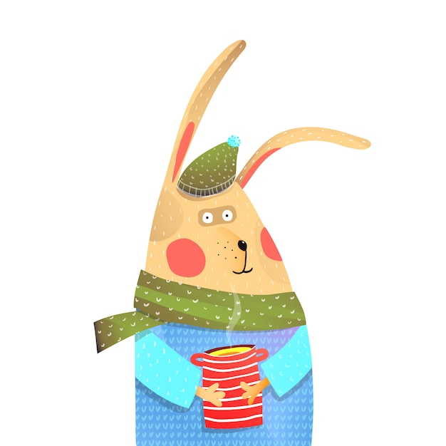 Кролик с чашкой чая Premium векторы
