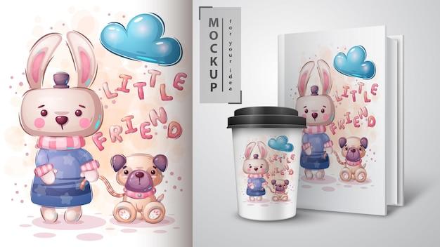 Rabbit with dog poster and merchandising. vector eps 10 Premium Vector