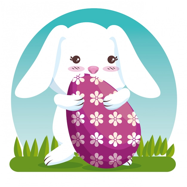 Rabbit with eggs decoration to celebration event Free Vector