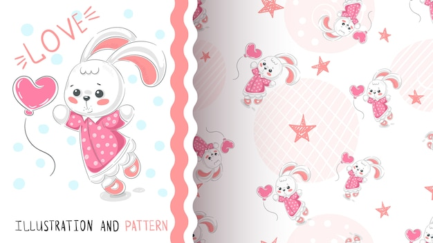 Rabbit with heart seamless pattern Premium Vector