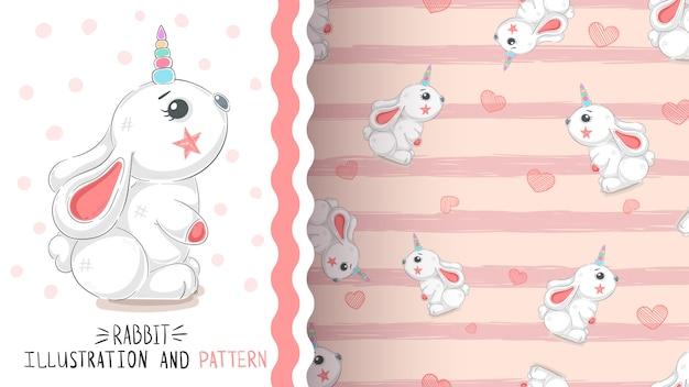 Rabbit with heart - seamless pattern Premium Vector