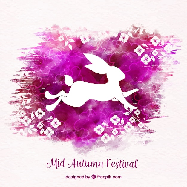 Rabbit with watercolors, mid autumn festival
