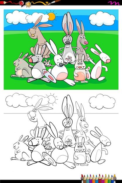 Rabbits animal characters group coloring book Premium Vector