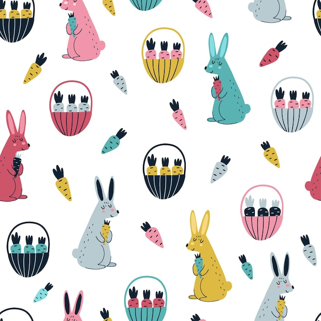 Rabbits and carrots seamless pattern in scandinavian style illustration Premium Vector