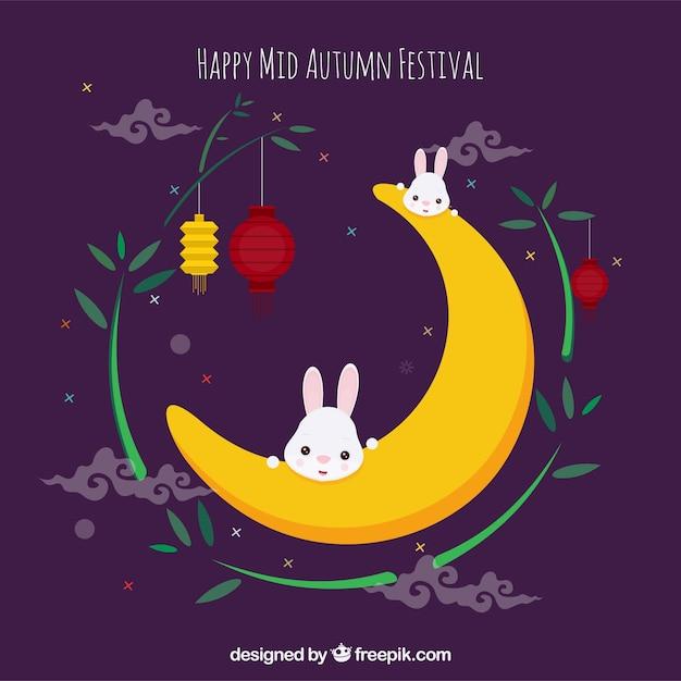 Rabbits on the moon, mid autumn festival