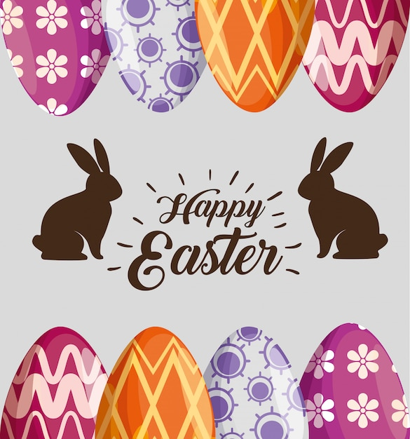 Rabbits with easter eggs decoration to event Free Vector
